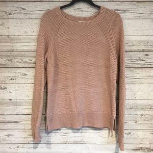 Gap Large sweater blush cable knit slit cotton